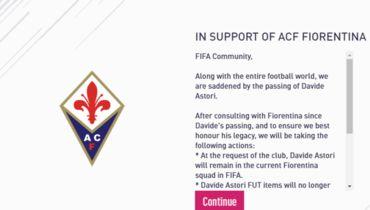 Стоимость Астори в FIFA 18 снижена в связи с его смертью