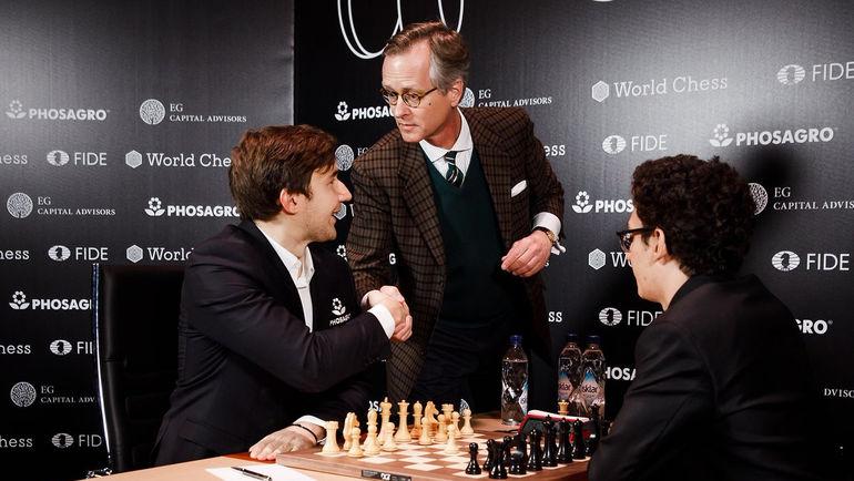 Сергей КАРЯКИН (слева) и Фабиано КАРУАНА (справа). Фото FIDE