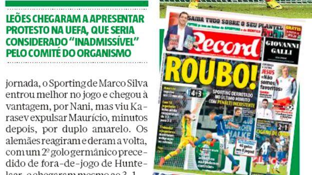 Португальская пресса назвала Карасева вором.