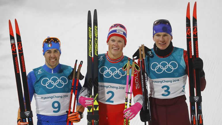 Александр БОЛЬШУНОВ (справа налево), Йоханнес КЛЕБО и Федерико ПЕЛЛЕГРИНО. Фото REUTERS