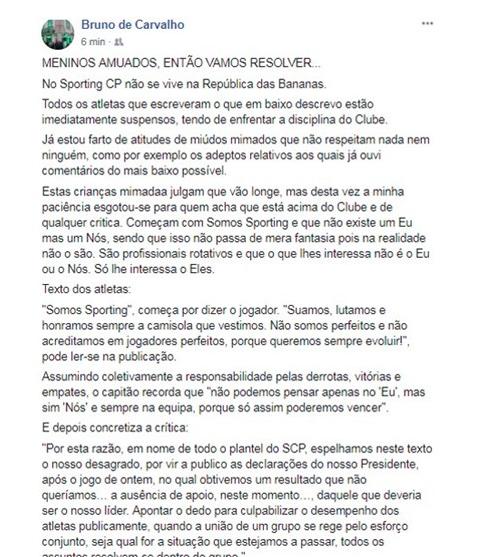 Сообщение Бруну де Карвалью. Фото facebook.com