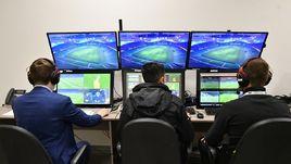 """Комната для работы видеоарбитров на стадионе футбольного клуба """"Краснодар""""."""