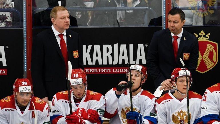 Сборная России проиграла четвертый матч подряд при новом тренере Илье Воробьеве. Фото ФХР