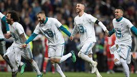 """Вторник. Мадрид. """"Реал"""" - """"Бавария"""" - 2:2. Игроки мадридской команды после победы."""