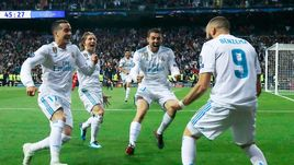 "Вторник. Мадрид. ""Реал"" - ""Бавария"" - 2:2. Эмоции игроков ""Реала"" после дубля Карима БЕНЗЕМА."