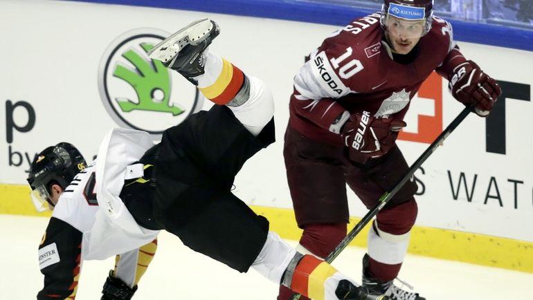 Сегодня. Хернинг. Латвия - Германия - 3:1. Серебряные призеры Олимпиады-2018 потерпели очередное поражение. Фото REUTERS