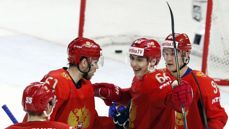 Понедельник. Копенгаген. Россия - Словакия - 4:0. Россияне празднуют новую победу на ЧМ. Фото REUTERS