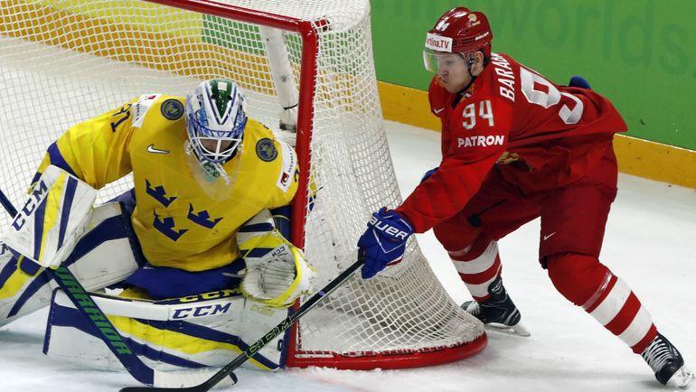 Вторник. Копенгаген. Россия - Швеция - 1:3. В атаке Александр БАРАБАНОВ: одного гола россиянам было мало. Фото Reuters