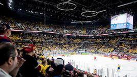 Эмоции зрителей во время матча Россия - Швеция.