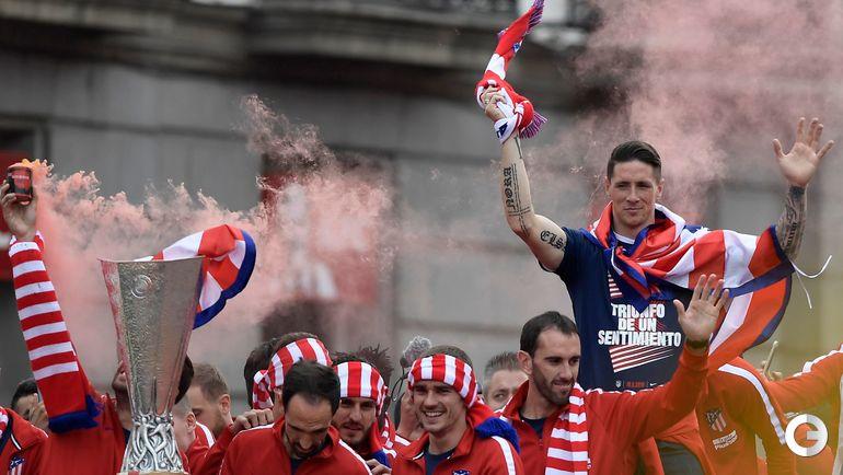 """Пятница. Мадрид. Празднование победы """"Атлетико"""" в Лиге Европы."""