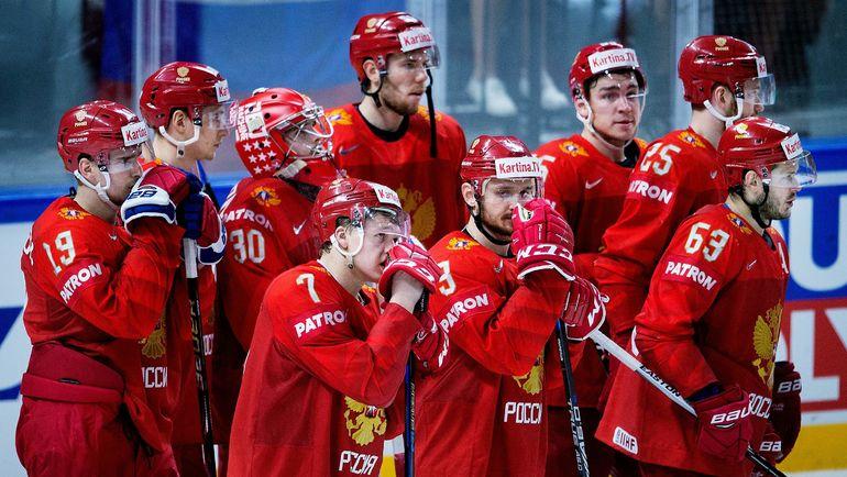 Игроки сборной Росии после поражения от канадцев в 1/4 финала чемпионата мира-2018. Фото AFP