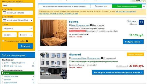 Цены за номер в отеле.