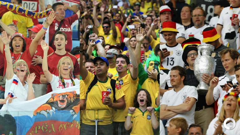 Болельщики сборных России, Бразилии и Германии.