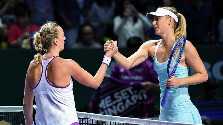 Мария ШАРАПОВА (справа) и Петра КВИТОВА. Фото AFP