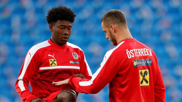 Главные звезды сборной Австрии - 25-летний Давид АЛАБА (слева) и 29-летний Марко АРНАУТОВИЧ. Фото AFP