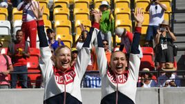 14 августа 2016 года. Рио-де-Жанейро. Екатерина МАКАРОВА и Елена ВЕСНИНА - олимпийские чемпионы.