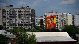 Гигантский портрет Серхио РАМОСА на стене жилого дома в Краснодаре.