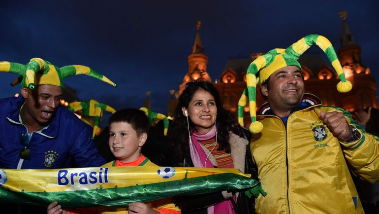 Болельщики сборной Бразилии в Москве. Фото AFP