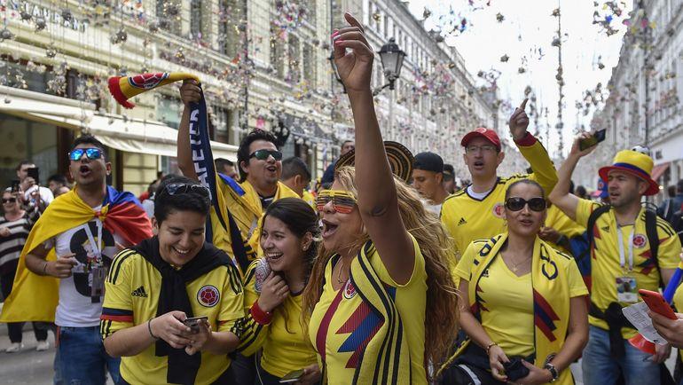 Болельщики сборной Колумбии в Москве. Фото AFP