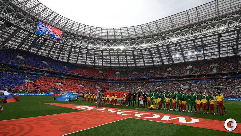 """14 июня. Москва. """"Лужники"""". Церемония открытия чеимпоната мира по футболу."""