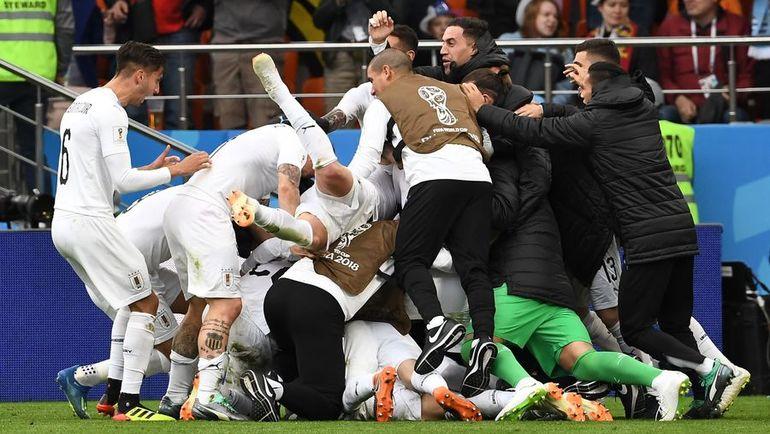 Сегодня. Екатеринбург. Египет - Уругвай - 0:1. 89-я минута. Радость уругвайцев. Фото AFP