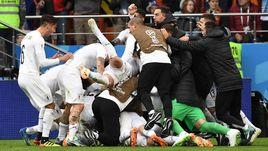 Сегодня. Екатеринбург. Египет - Уругвай - 0:1. 89-я минута. Радость уругвайцев.