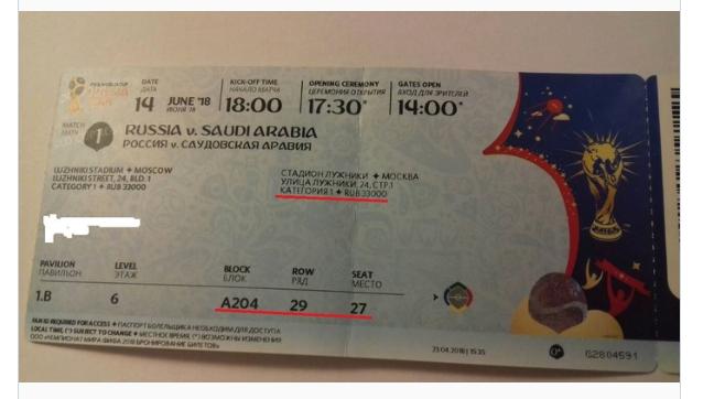 Билет на матч Россия - Саудовская Аравия (5:0).