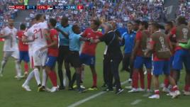 Неманья Матич (№21) vs скамейка Коста-Рики.