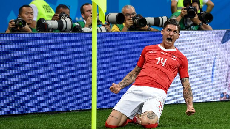 """Стивен ЦУБЕР празднует гол в ворота сборной Бразилии. Фото Дарья ИСАЕВА, """"СЭ"""""""