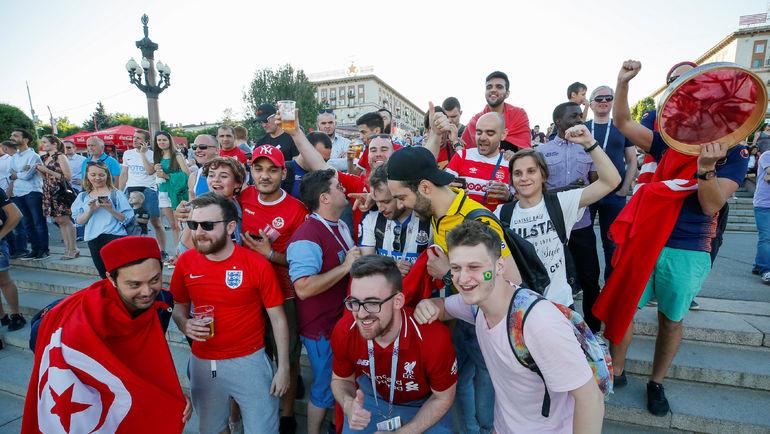Болельщики из Туниса в фан-зоне в Волгограде. Фото REUTERS