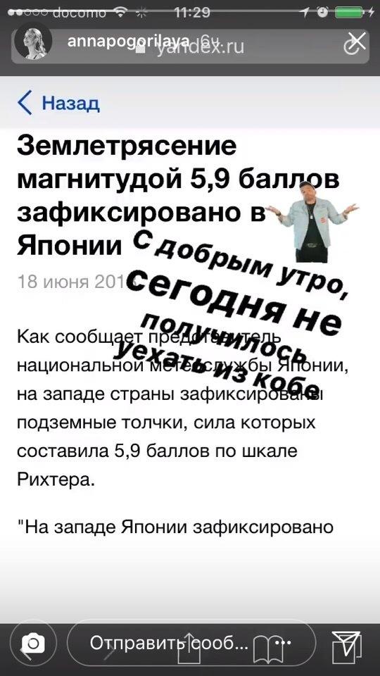Скриншот сториз с Инстаграма ПОГОРИЛОЙ.