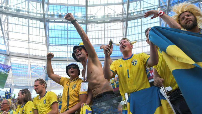 Болельщики сборной Швеции на матче с Кореей в Нижнем Новгороде. Фото AFP