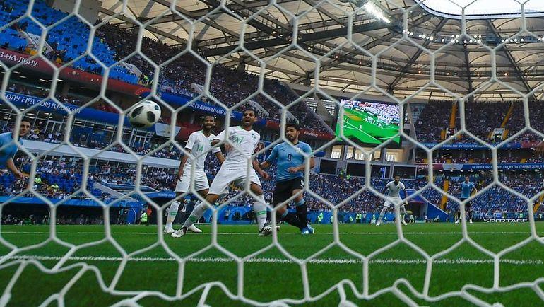 Луис СУАРЕС забивает единственный гол в матче. Фото AFP