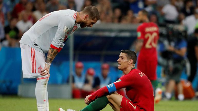 15 июня 2018 года. Сочи. Португалия - Испания - 3:3. СЕРХИО РАМОС и КРИШТИАНУ РОНАЛДУ. Фото REUTERS