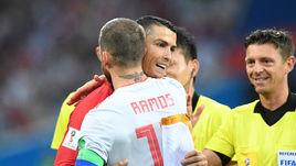 15 июня 2018 года. Сочи. Португалия – Испания – 3:3. СЕРХИО РАМОС и КРИШТИАНУ РОНАЛДУ.