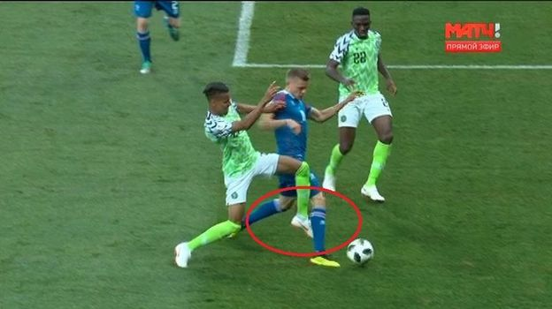 80-я минута матча Нигерия - Исландия.