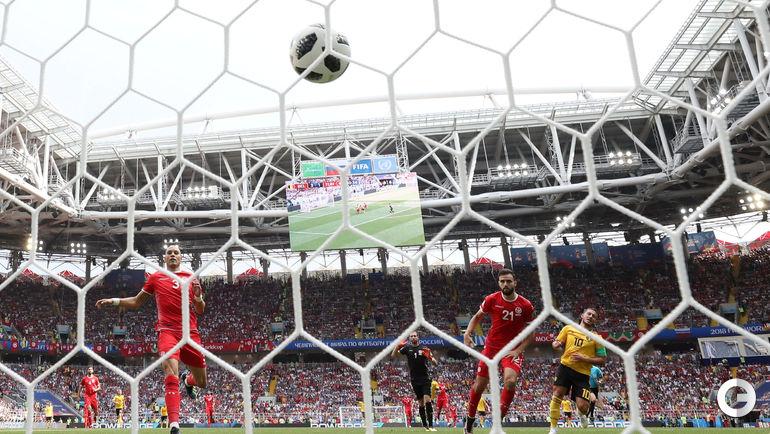 23 июня. Москва. Бельгия - Тунис - 5:2. Эден АЗАР забивает четвертый гол.