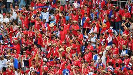 Сегодня. Нижний Новгород. Англия – Панама – 6:1. Панамские болельщики празднуют первый гол сборной на чемпионатах мира.