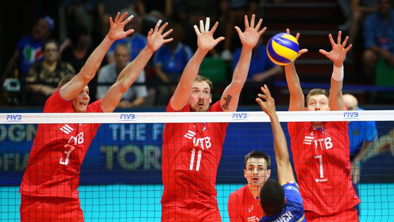 Воскресенье. Модена. Россия - Франция - 0:3. Тройной блок россиян. Фото FIVB