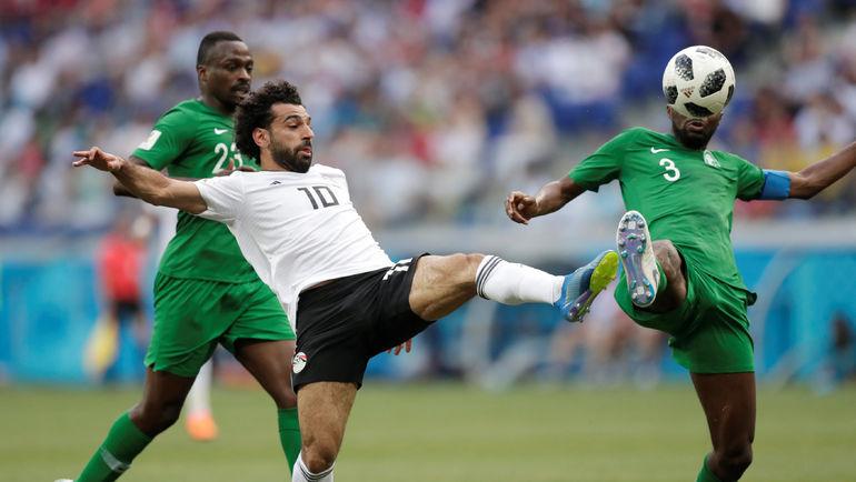 Сегодня.  Волгоград. Саудовская Аравия - Египет - 2:1. Мохамед САЛАХ забивает гол. Фото REUTERS