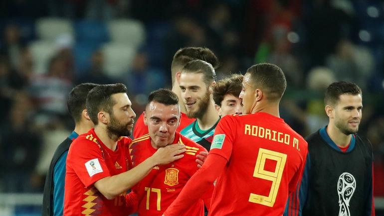 Понедельник. Калиниград. Испания - Марокко - 2:2. Радость испанцев после финального свистка. Фото REUTERS