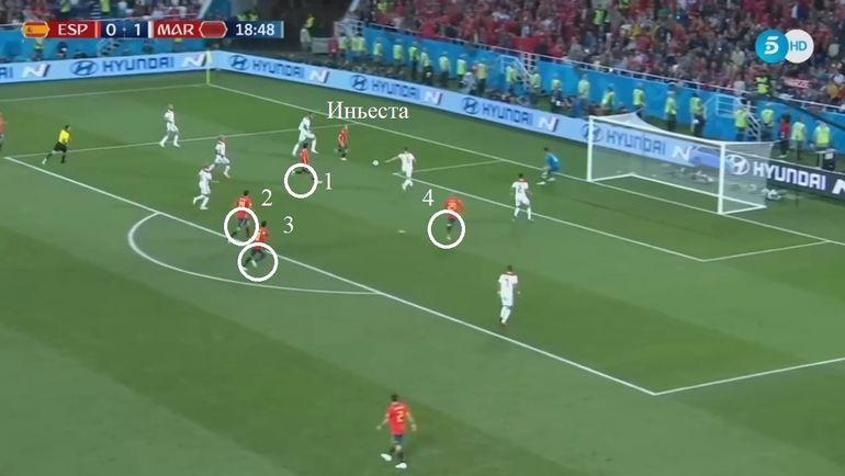 Первая голевая атака сборной Испании в матче с Марокко.