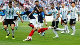 Сегодня. Казань. Франция - Аргентина - 4:3. 64-я минута. Кильян МБАППЕ забивает свой первый гол.