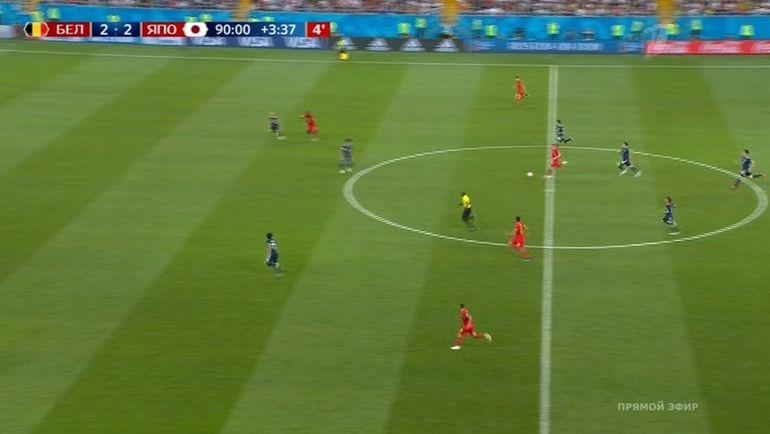 Третья голевая атака Бельгии в матче с Японией.