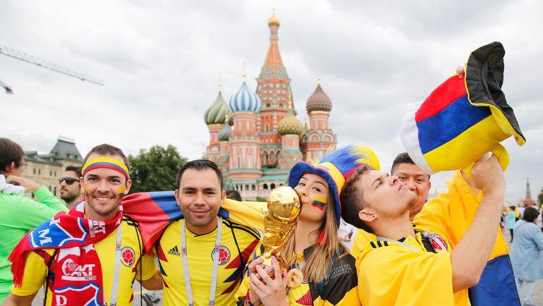 Сегодня. Москва. Фанаты сборной Колумбии. Фото AFP