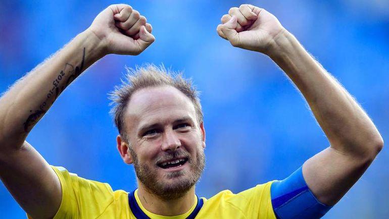 Сегодня. Санкт-Петербург. Швеция - Швейцария - 1:0. Андреас ГРАНКВИСт празднует победу.