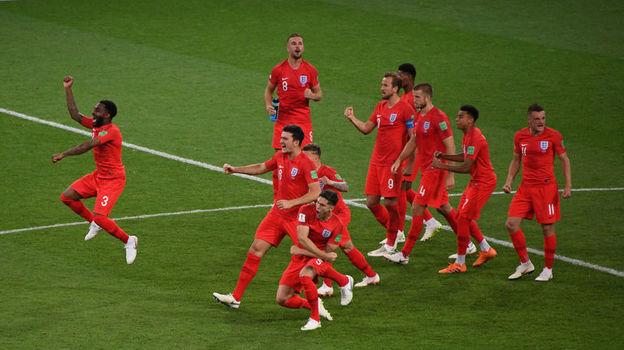 Вторник. Москва. Тушино. Колумбия - Англия - 1:1, пенальти - 3:4. Игроки английской сборной празднуют победу в матче. Фото Дарья ИСАЕВА, «СЭ»