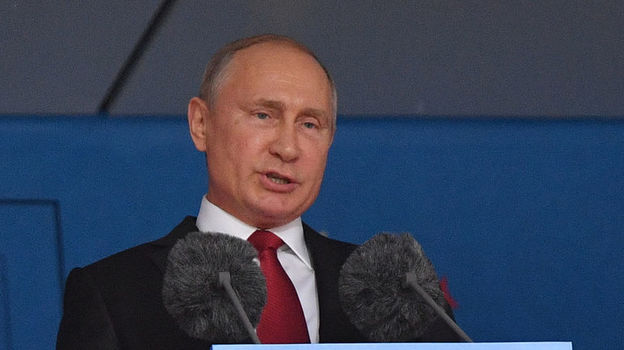 Владимир ПУТИН во время церемонии открытия ЧМ-2018. Фото Александр ФЕДОРОВ, «СЭ»