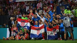Вчера. Москва. Лужники. Хорватия - Англия - 2:1 д.в.. Хорваты празднуют победу и выход в финал.