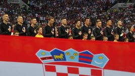 11 июля. Москва. Лужники. Хорватия - Англия - 2:1 д.в. Сборная Хорватии перед началом матча.